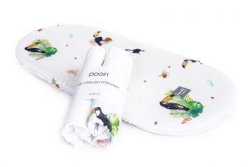 2-pack Bamboo Muslin Stroller Mattress Sheet Toucans Plain