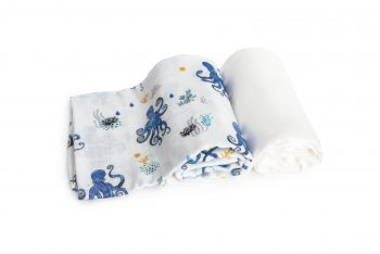 2-pack Bamboo Muslin Swaddle Octopus Plain