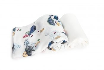 2-pack Bamboo Muslin Swaddle Whales Plain
