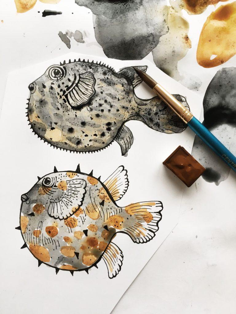 ocean by Poofi - pufferfish watercolor