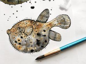 watercolor Pufferfish - Ocean by Poofi