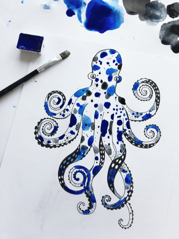 watercolor Octopus - Ocean by Poofi