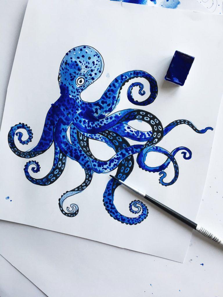 ocean by poofi - octopus watercolor