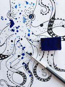 Drawing Octopus - Ocean by Poofi