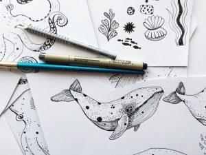 Drawing whale - Ocean by Poofi