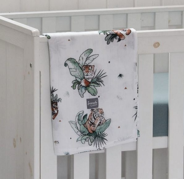 Poofi tropical square swaddle bamboo tropical tigers