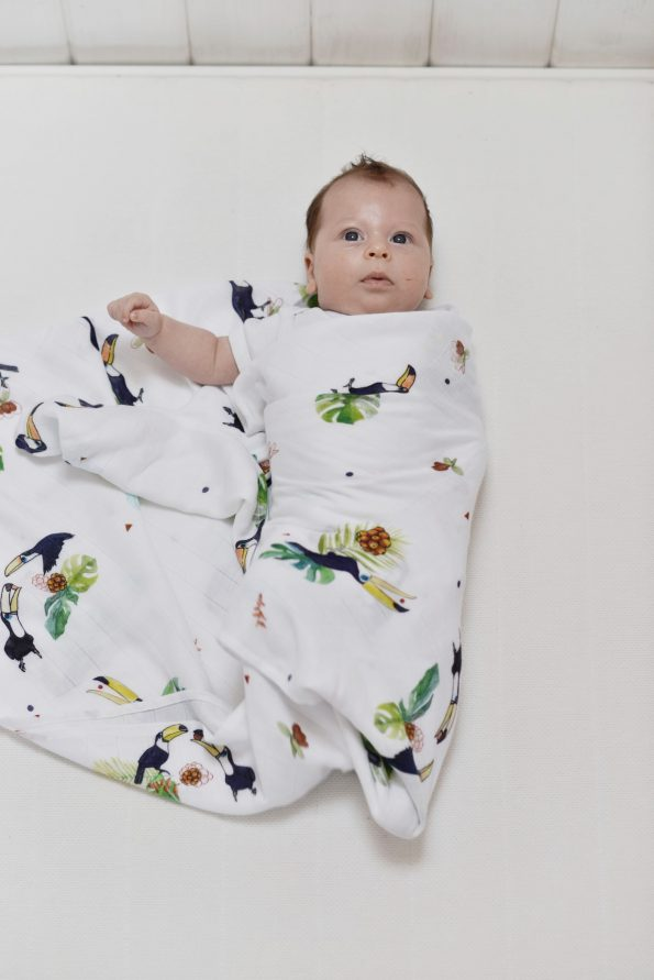 Poofi tropical swaddle bamboo toucans