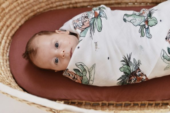 Poofi tropical swaddle bamboo tigers