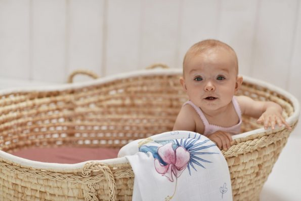 Poofi tropical square swaddle bamboo hibiscus