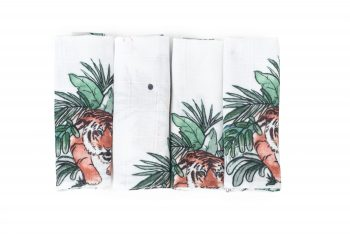 Poofi tropical 4-pack cloths bamboo tigers