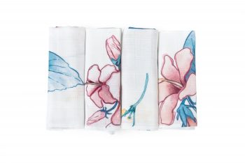 Poofi tropical 4-pack cloths bamboo hibiscus