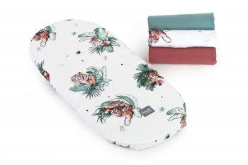 Poofi stroller sheet tropical organic muslin tigers maroon petrol