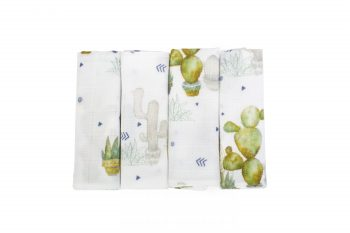 Poofi tropical bamboo muslin cloth 4-pack cactus cacti