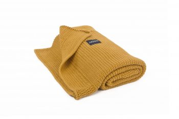 honey knitted blanket by Poofi