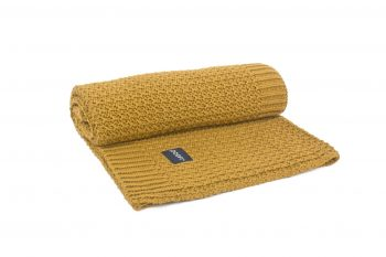 mustard knitted blanket by poofi