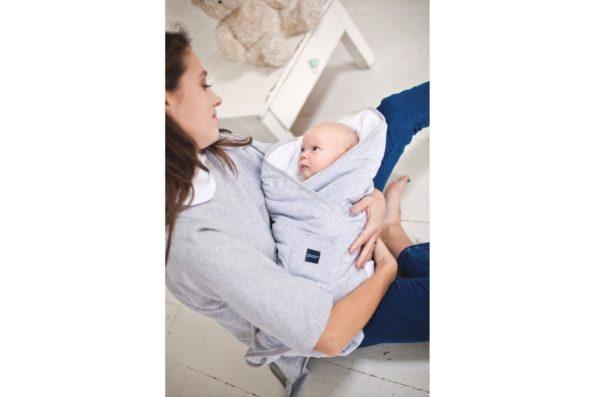 Baby Wrap Cotton Grey White Pure 2