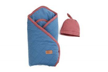 Baby Wrap Hat Organic Denim Maroon Color Mood
