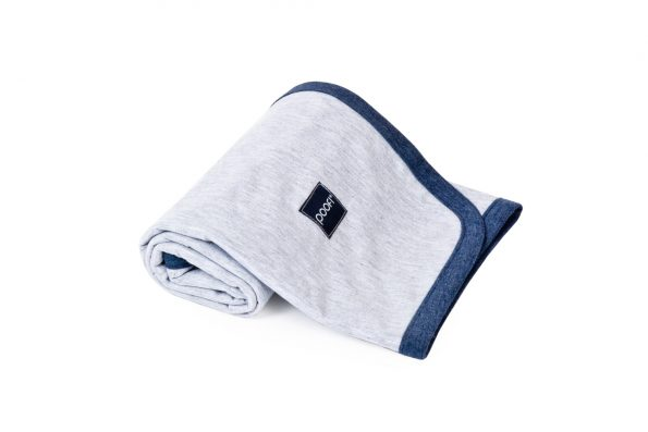 cotton balnket by Poofi - grey with navy