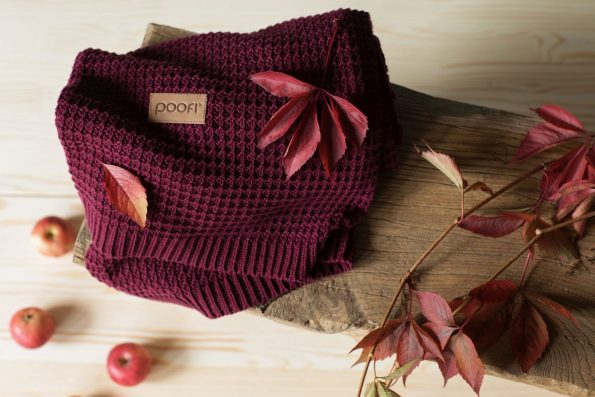 knitted blanket Poofi, kocyk tkany, kocyk dziany, dziergany, organic cotton