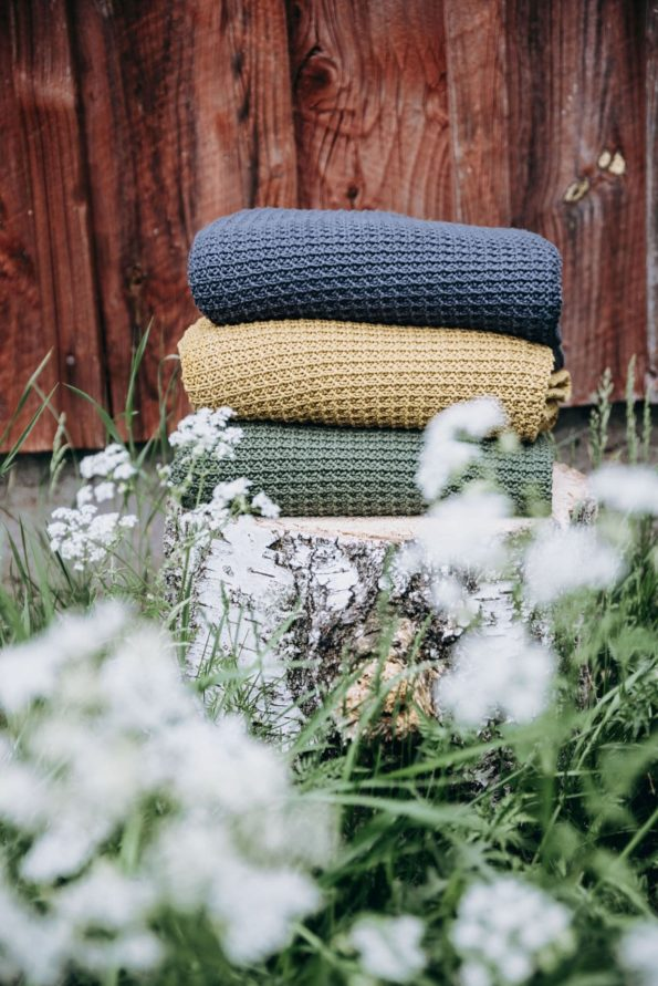 Knitted Blanket Organic Blue Mustard Green Color Mood