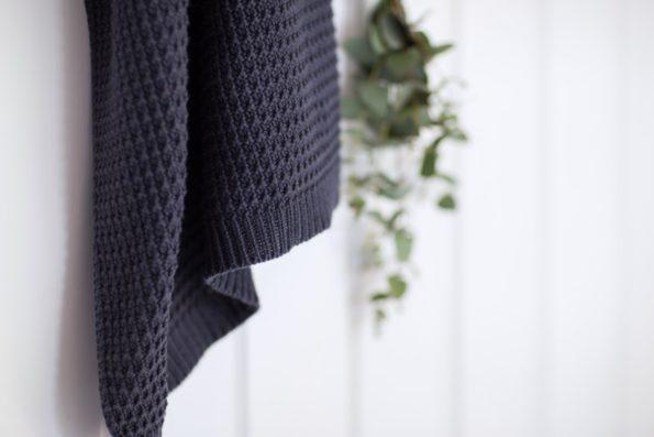 Knitted Blanket Organic Dark Blue Color Mood 1