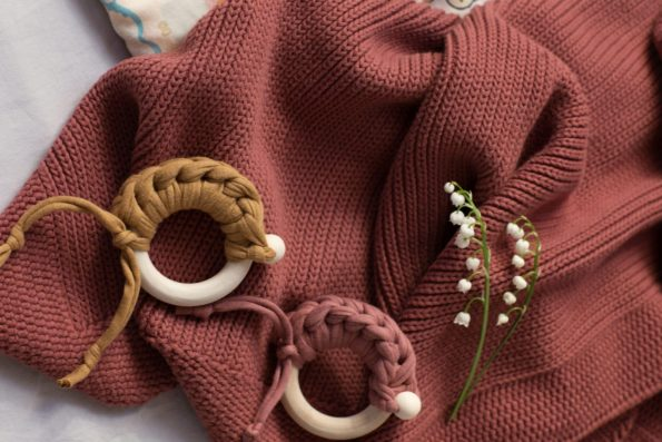 Knitted Blanket Teether Maple Cotton Maroon Mustard Color Mood