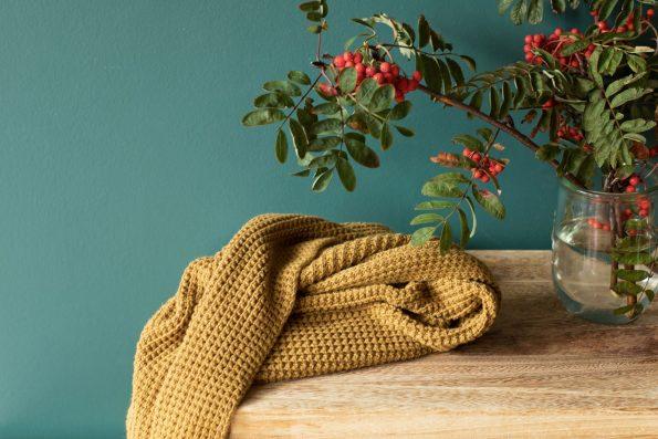 knitted blanket Poofi organic cotton , kocyk tkany, kocyk dziany. dziergany, bawełna organiczna, Poofi