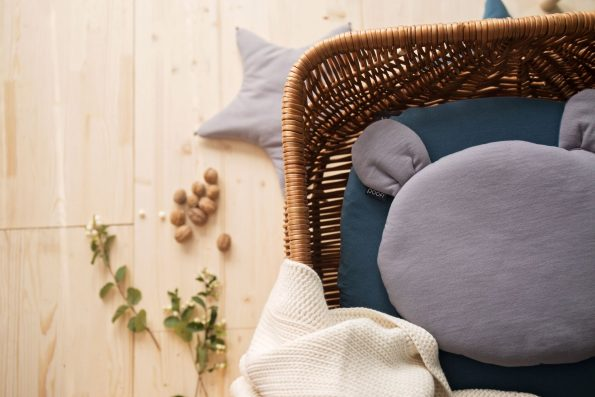 Teddy Bear Pillow Organic Mustard Color Mood, poduszka miś Poofi