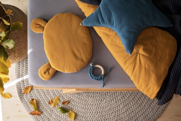 Teddy Bear Pillow Organic Mustard Color Mood