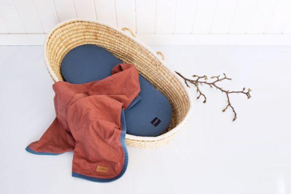 Stroller Mattress Sheet Blanket Organic Denim Maroon Color Mood