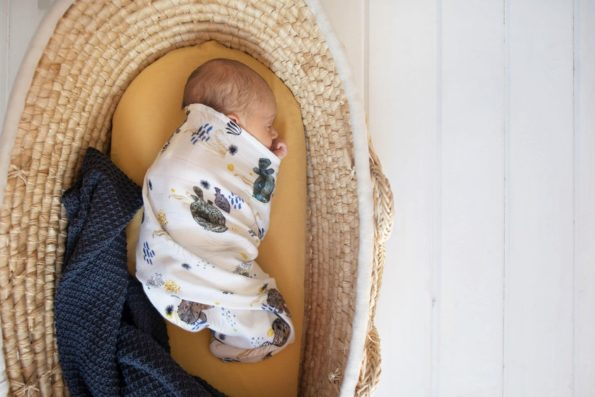 Stroller Mattress Sheet Knitted Blanket Swaddle Organic Bamboo Mustard Dark Blue Pufferfish Color Mood