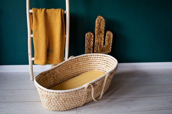 Stroller Mattress Sheet Knitted Blanket Organic Mustard Color Mood