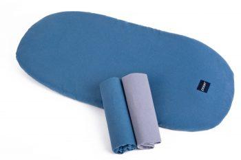 Stroller Mattress Sheet Organic Denim Grey Color Mood