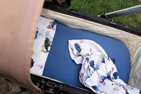 Swaddle Stroller Sheet Bamboo Organic Whales Denim Color Mood
