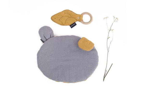 Teether Bear Pillow Organic Maple Grey Mustard Color Mood