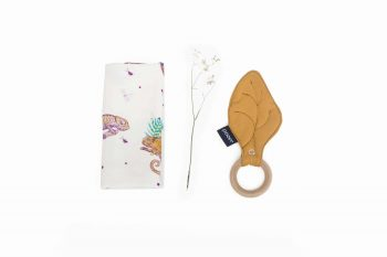 Teether Square Maple Organic Bamboo Chameleon Mustard Color Mood