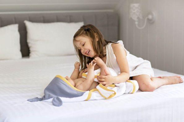 Towel Cotton White Grey Mustard Color Mood